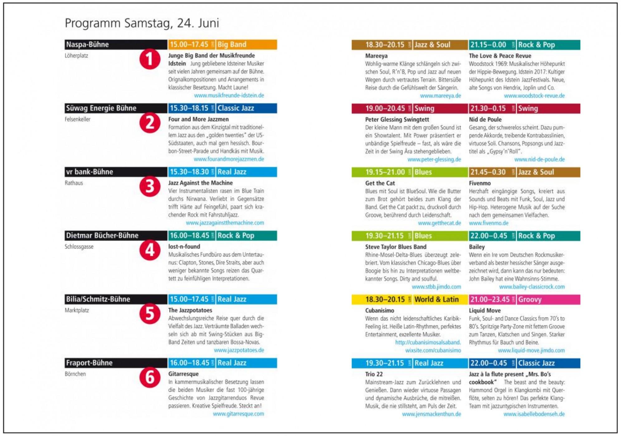 Programm Samstag, 24. Juni