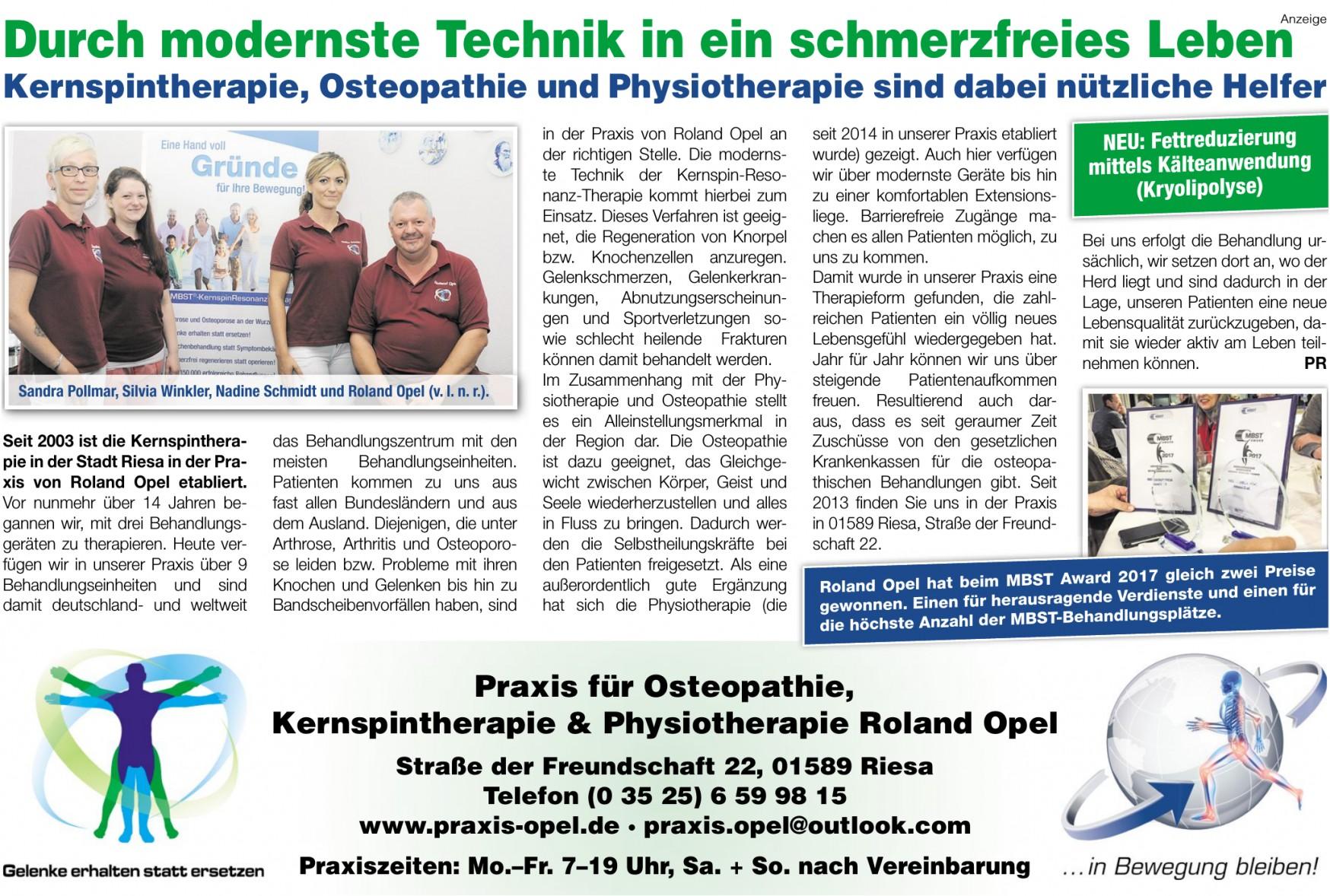 Praxis für Osteopathie, Kernspintherapie & Physiotherapie Roland Opel