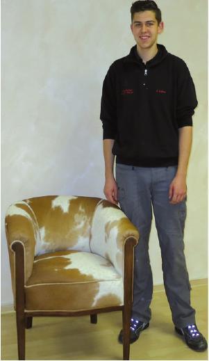 Polster-Experte mitaufgearbeitetem Möbel