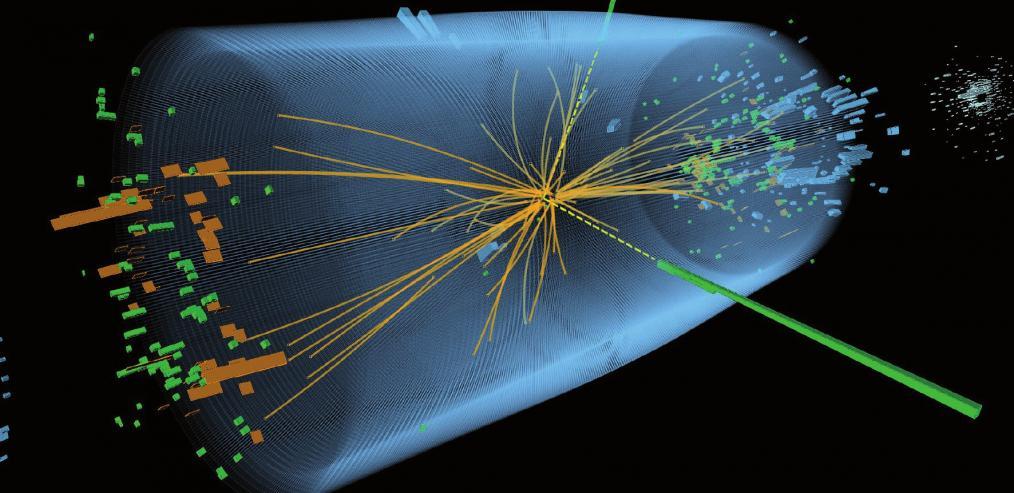 Eine vom Teilchendetektor CMS im Jahr 2012 aufgezeichnete Proton-Proton-Kollision. Das Ereignis zeigt die charakteristischen Merkmale eines zerfallenen Higgs-Teilchens mit zwei Photonen (gestrichelte gelbe Linien und grüne Blöcke) FOTO: CERN