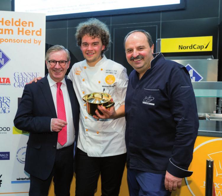 Next Chef Award Sieger 2018 Marianus von Hörsten mit Jan Hofer und Johann Lafer