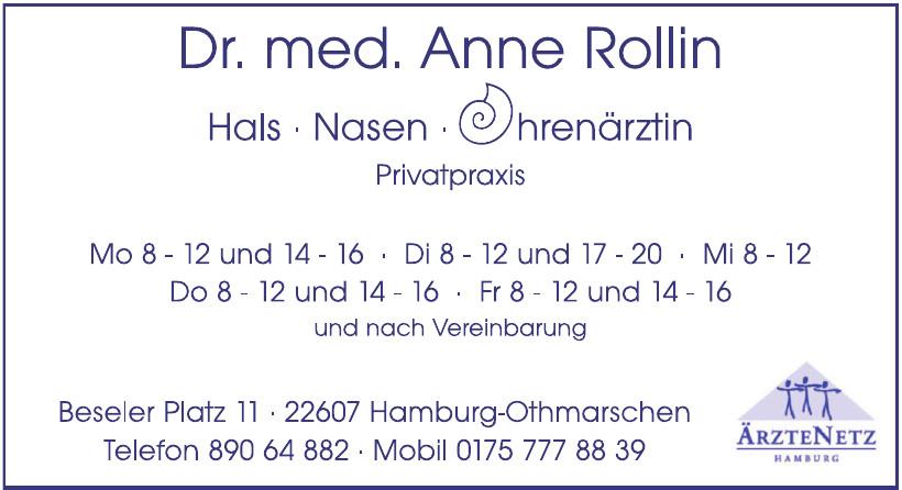Dr. med. Anne Rollin, Hals-Nasen-Ohrenärztin