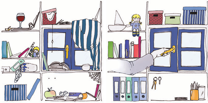 unaufgeräumt, aufgeräumt, Illustration: Lina Saller