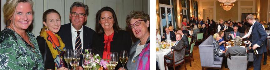 Links außen: Birgitta Schulze van Loon, Nathalie Dunger, Dieter Schulze van Loon, Britta Wiegand und Helga Schäfer Links: Ausgebuchtes Restaurant im Louis C. Jacob