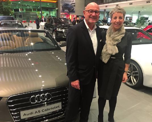 Audi-Chef Jürgen Deforth mit Christiane Dienold (Geschäftsführerin Kinderkrankenhaus Altona) beim Treff