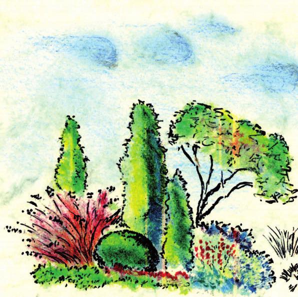 Philippe Geenons fertigt mit der Hand eine Zeichnung Ihres Traumgartens an
