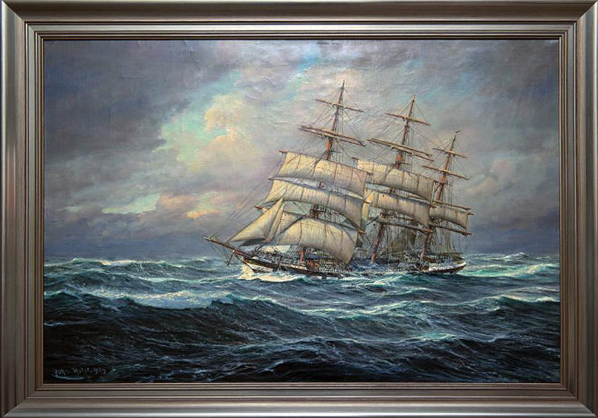 """Joh's Holst, """"Vollschiff der Hamburger Reederei Wencke"""", Ölbild, 1939"""