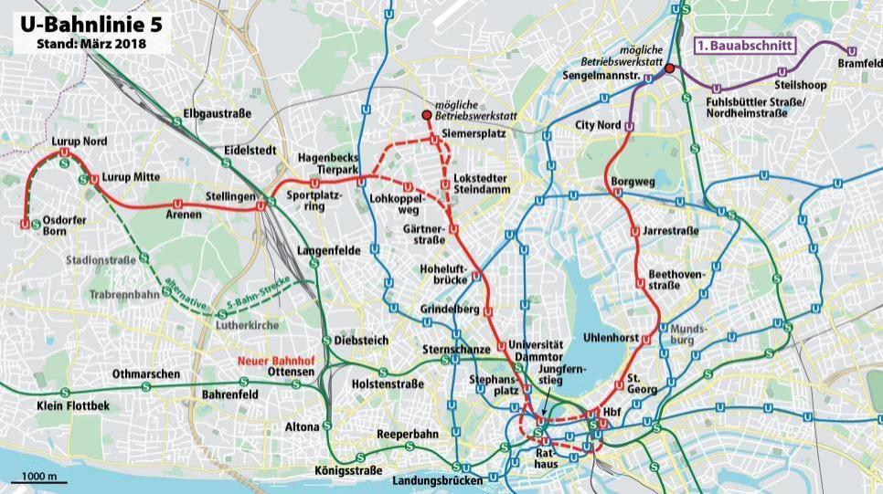 Der Plan zeigt den geplanten Streckenverlauf der U5 zwischen Bramfeld und dem Osdorfer Born sowie die neue Station Ottensen (Pfeil) zwischen Bahrenfeld und Altona. Rechts unten: Ein neuer ET 490 im Testbetrieb.FOTO: OPENSTREETMAP-BEITRAGENDE/WIKIPEDIA