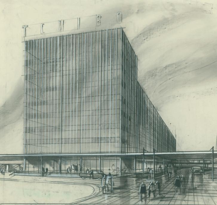Tchibo-Werk in Hamburg. Schauzeichnung von Ernst Eissner für das Büro Cäsar Pinnau, 1963FOTO: HAMBURGISCHES ARCHITEKTURARCHIV