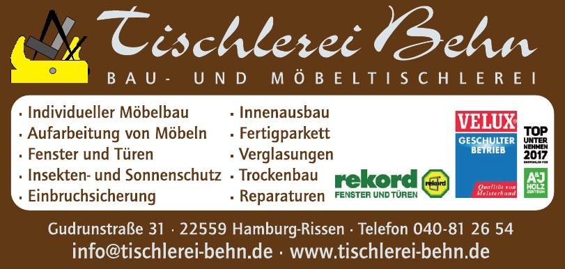 Tischlerei Behn - Bau und Möbeltischlerei