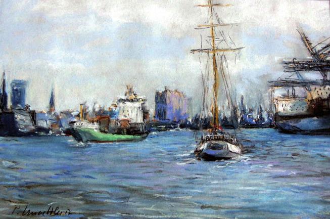 Hafenszene mit Segler