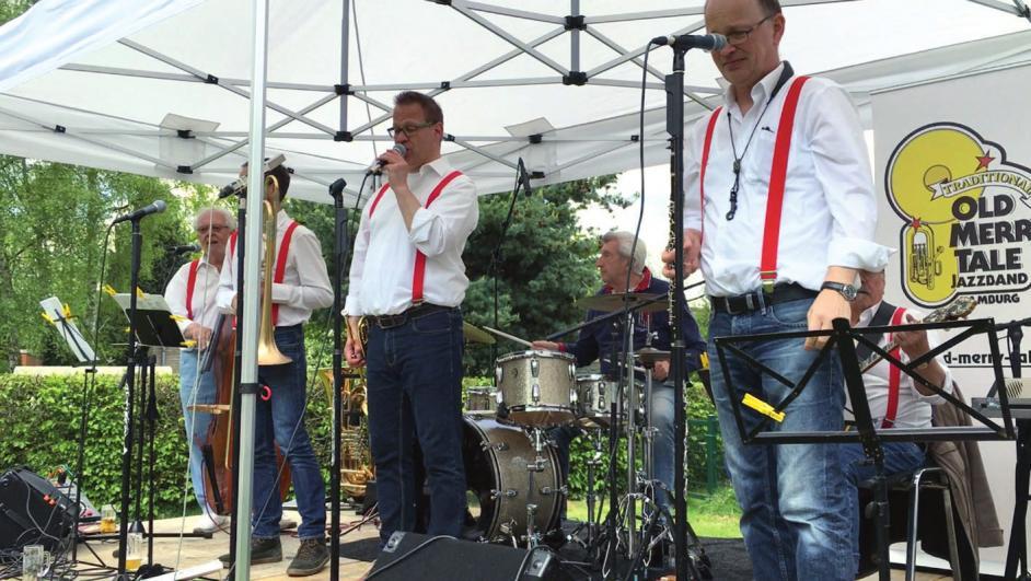 Die Trad. Old Merrytale Jazzband mit Aushilfe Klaus Meyer am Schlagzeug