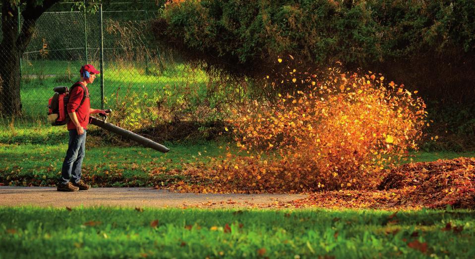 Ärgernis Laubbläser. Sie beschleunigen die Gartenarbeit, haben jedoch zahlreiche Nachteile. Der Lärm ist nur einer davon. FOTO: SMILEUS_FOTOLIA.COM