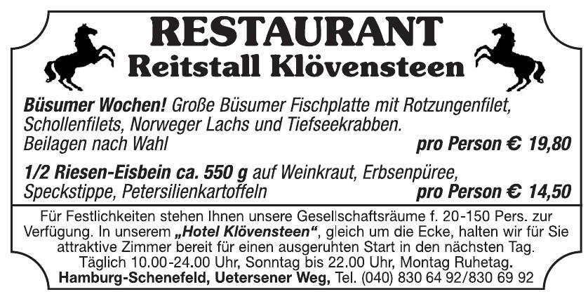 Restaurant Reistall Klövensteen