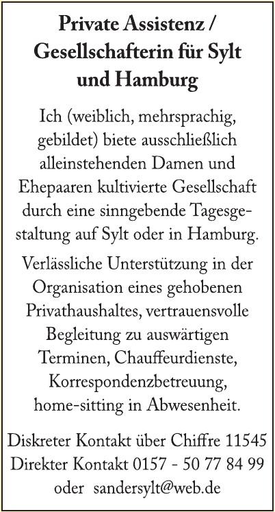 Private Assistenz / Gesellschafterin für Sylt und Hamburg