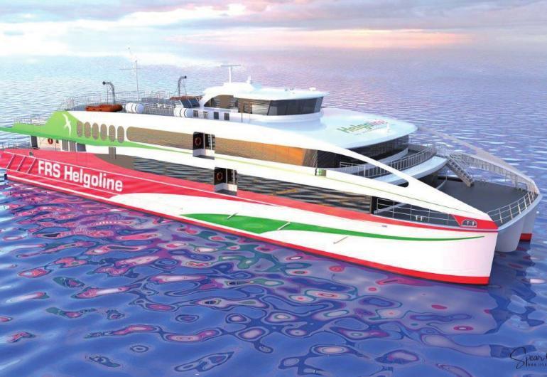 Der neue Helgoland-Katamaran liegt auch bei stärkerem Seegang stabil in der See