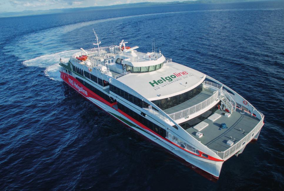 Der neue Helgoland-Katamaran kommt von den Philippinen, durchquert den Indischen Ozean und das Rote Meer. FOTO:AUSTAL
