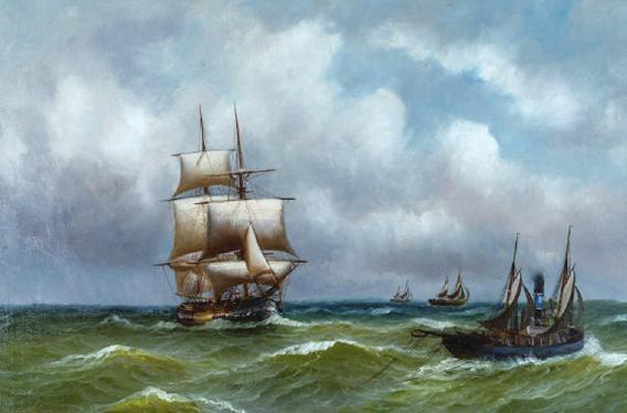 """Im Øresund vor Schloss Kronborg"", 1862, Öl auf Leinwand"