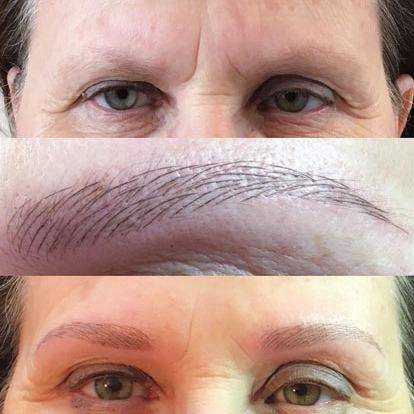 Vorher ohne Kontur, nachher schöne Augenbrauen dank Permanent MakeUp