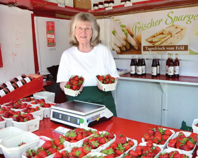 Glantz-Erdbeerstand in Blankenese: kleinere Früchte, mehr Süße