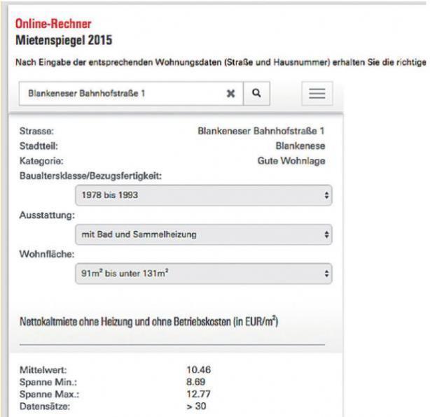 Der Online-Mietenspiegel, gefüttert mit einer beispielhaften Adresse in Blankenese