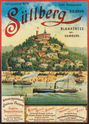 Der Süllberg in einer Reklame um 1900. Besonders hervorgehoben wird der Aussichtsturm und der eigene Dampfschiffs-Anleger.