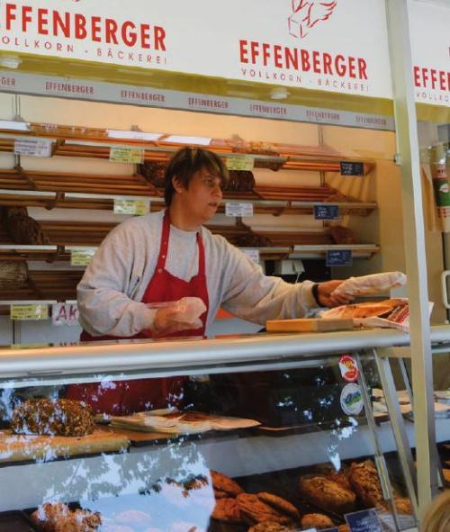 Effenberger-Verkaufsstand auf dem Markt. Das Sortiment ist eher klein, aber hochwertig